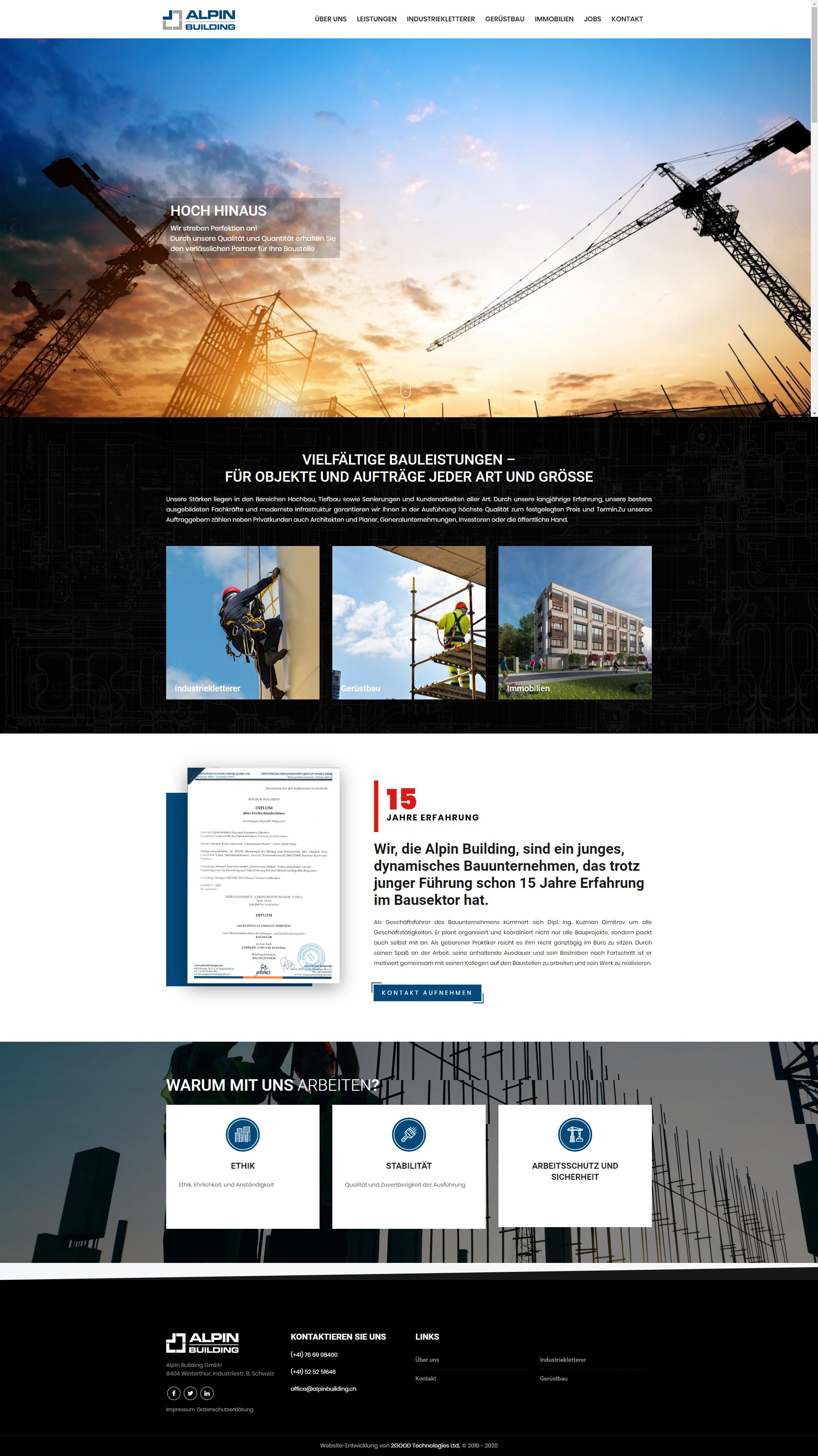 Изработка на сайт за Алпин Билдинг